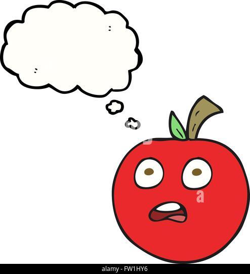 Freihändig gezeichnete Gedanken Bubble Cartoon Tomate Stockbild
