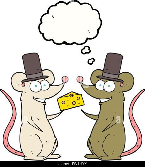 Freihändig gezeichnete Gedanken Bubble Cartoon Mäuse mit Käse Stockbild