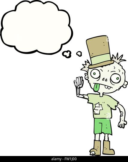 Freihändig gezeichnete Gedanken Bubble Cartoon zombie Stockbild
