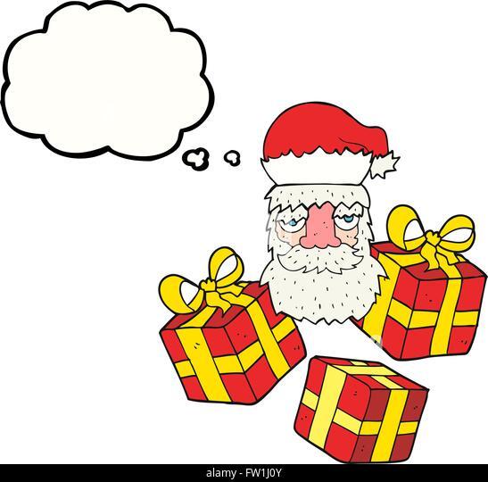 Freihändig gezeichnete Gedankenblase cartoon müde Gesicht der Weihnachtsmann mit Geschenken Stockbild