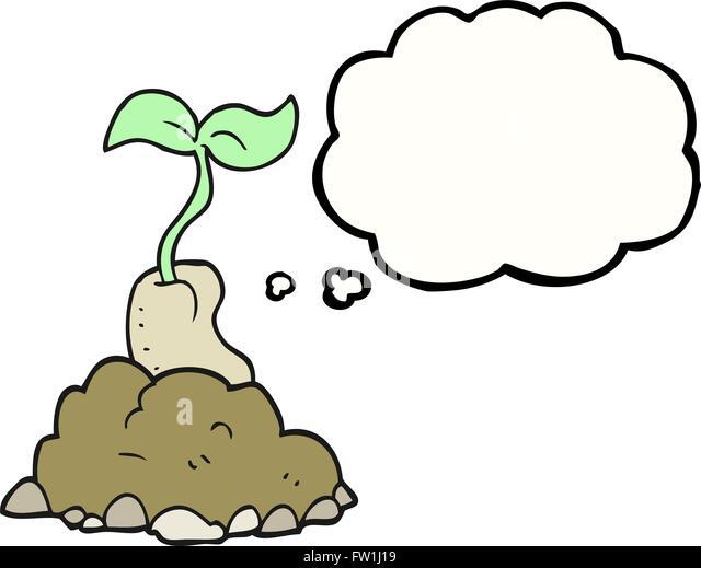 Freihändig gezeichnete Gedankenblase cartoon sprießende Samen Stockbild