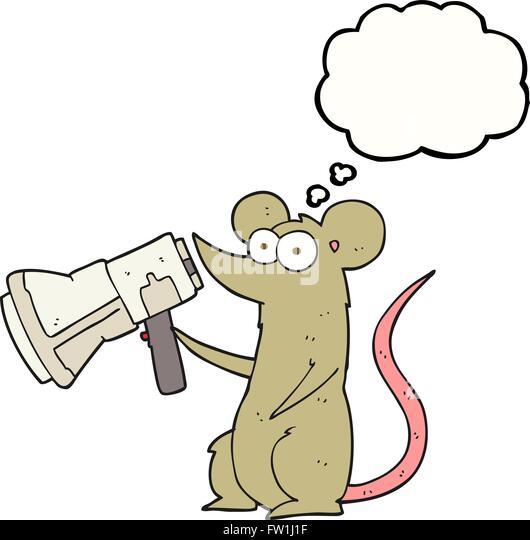 Freihändig gezeichnete Gedanken Bubble Cartoon Maus mit Megaphon Stockbild
