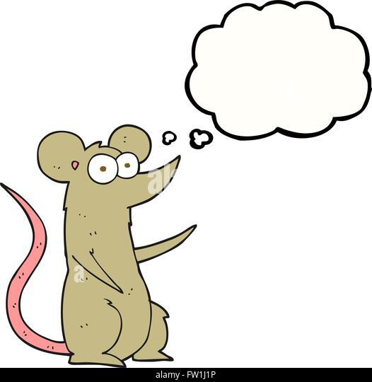 Freihändig gezeichnete Gedanken Bubble Cartoon Maus verliebt Stockbild