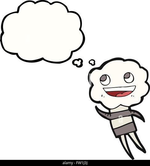 Freihändig gezeichnete Gedanken Bubble Cartoon süße Wolke Kopf Kreatur Stockbild