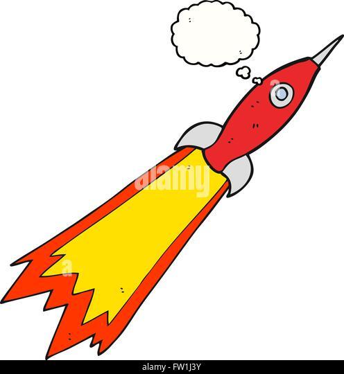 Freihändig gezeichnete Gedanken Bubble Cartoon Rakete Stockbild