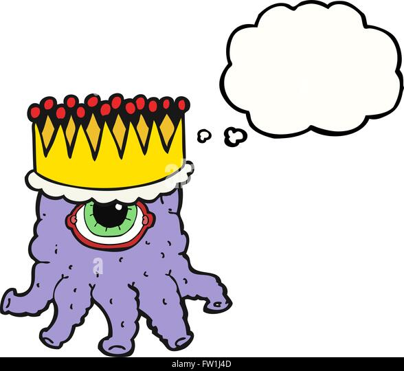 Freihändig gezeichnete Gedanken Bubble Cartoon king alien Stockbild