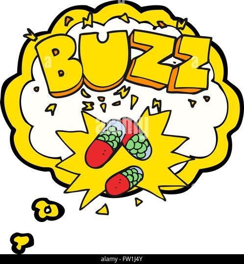 Freihändig gezeichnete Gedanken Bubble Cartoon Stimulans Pillen Stockbild