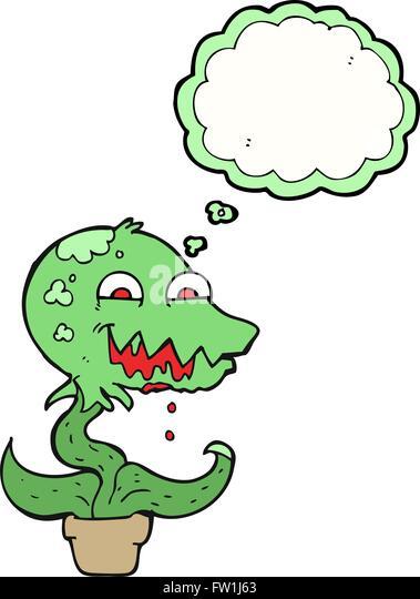 Freihändig gezeichnete Gedanken Bubble Cartoon Monster Pflanze Stockbild