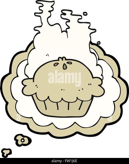 Freihändig gezeichnete Gedanken Blase Cartoon-Torte Stockbild