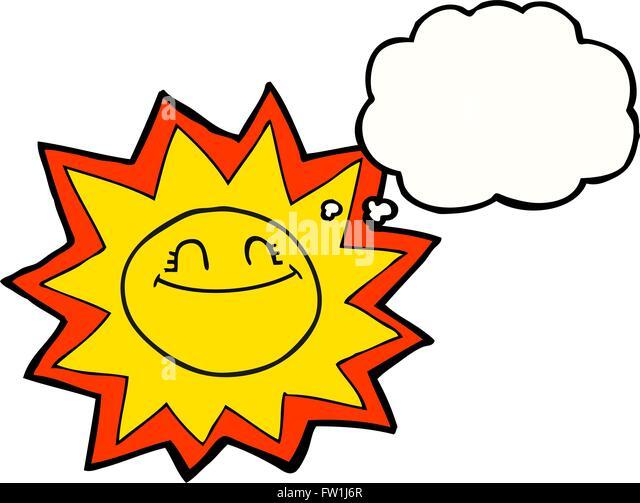 glücklicher Freihand gezeichnete Gedanke Blase Cartoon Sonne Stockbild