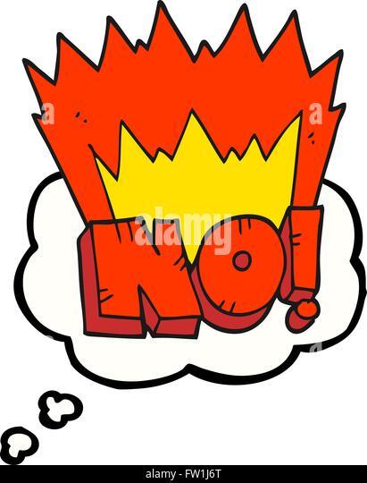 freihändig gezeichnet Gedanken Bubble Cartoon nicht! Shout Stockbild