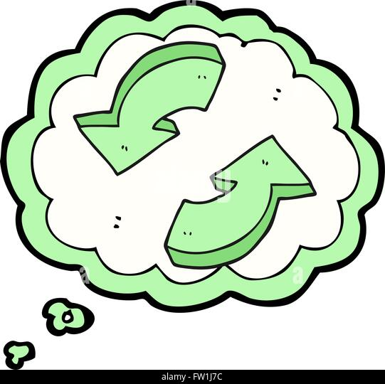 Freihändig gezeichnete Gedankenblase cartoon recycling Pfeile Stockbild
