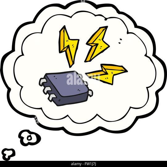 Freihändig gezeichnete Gedanken Bubble Cartoon Computer-chip Stockbild