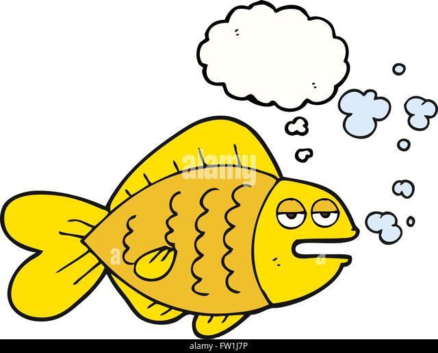 Freihändig gezeichnete Gedanken Blase Karikatur lustige Fische Stockbild
