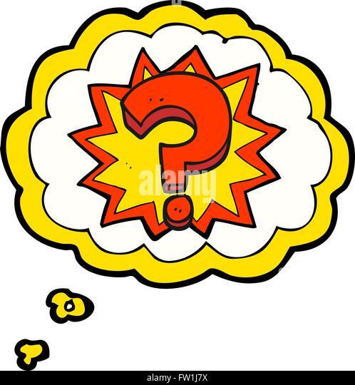 Freihändig gezeichnete Gedanken Bubble Cartoon Fragezeichen Stockbild