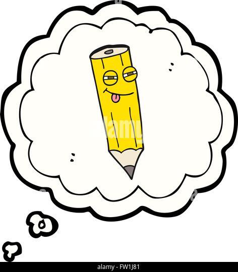 glücklich Freihand gezeichnete Gedankenblase cartoon sly Bleistift Stockbild
