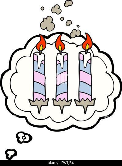 Freihändig gezeichnete Gedanken Bubble Cartoon Geburtstagskuchen Kerzen Stockbild