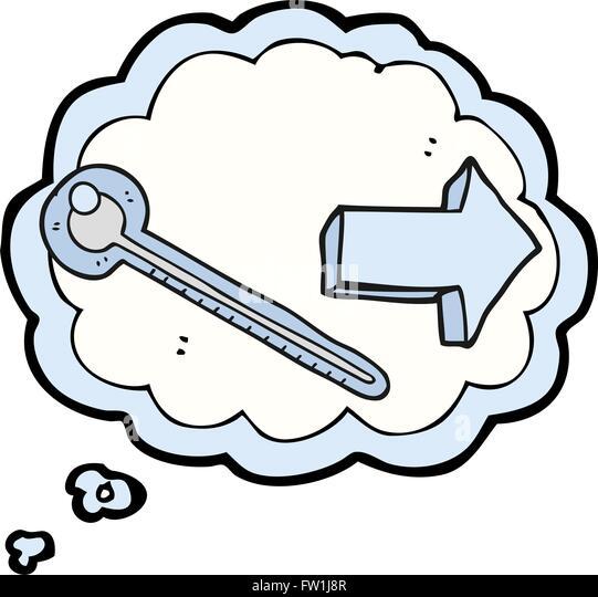Freihändig gezeichnete Gedanken Bubble Cartoon thermometer Stockbild