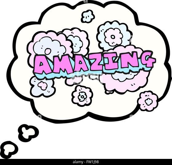 Freihändig gezeichnete Gedankenblase cartoon erstaunliche Wort Stockbild