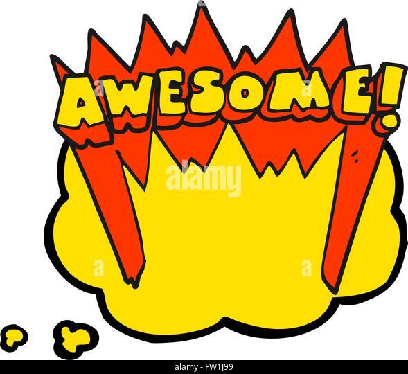 Freihändig gezeichnete Gedankenblase cartoon Super Wort Stockbild
