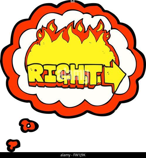 Freihändig gezeichnete Gedanken Bubble Cartoon Rechte symbol Stockbild