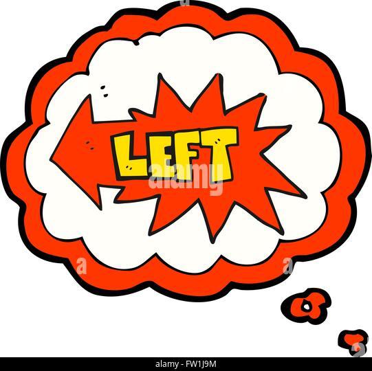 Freihändig gezeichnete Gedanken Bubble Cartoon linke symbol Stockbild