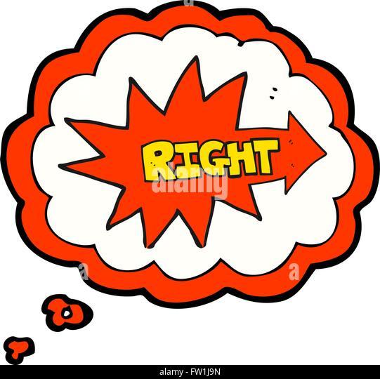 freihändig gezeichnet Gedanken Bubble Cartoon Rechte Symbol zeigt Stockbild