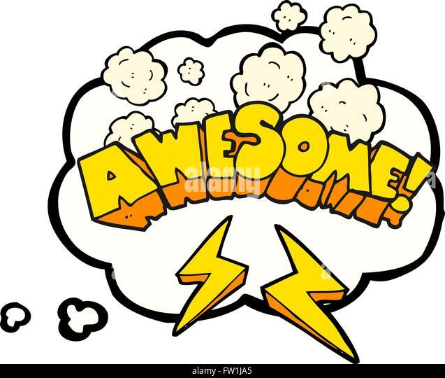 Freihändig gezeichnete Gedanken Bubble Cartoon Wort awesome Stockbild