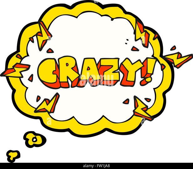 Freihändig gezeichnete Gedanken Bubble Cartoon schreien verrückt Stockbild