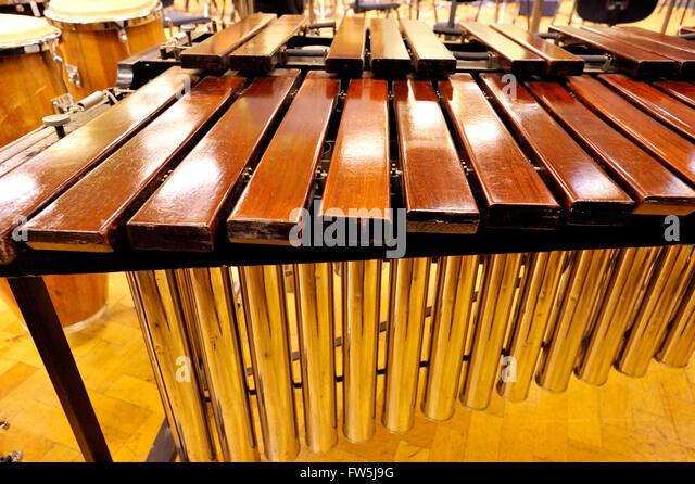 Nahaufnahme der Marimba, abgestimmt eine lateinamerikanische Percussion Instruments schlug mit Schlägeln, bestehend Stockbild