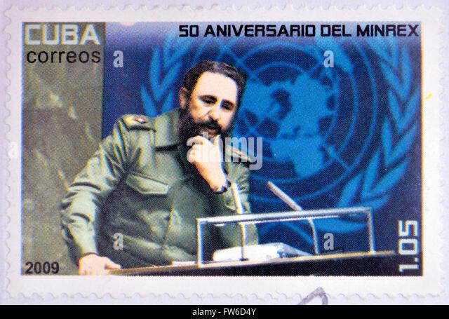 Kuba - CIRCA 2009: eine Briefmarke gedruckt in Kuba zeigen, ein Bild von Fidel Castro, ca. 2009. Stockbild