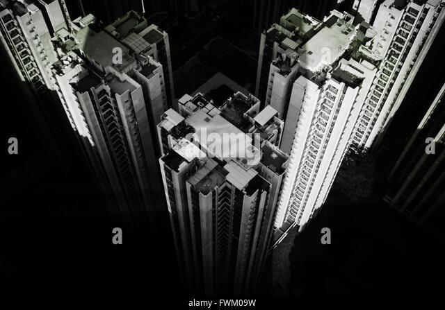Luftaufnahme von Gebäuden In der Stadt Stockbild