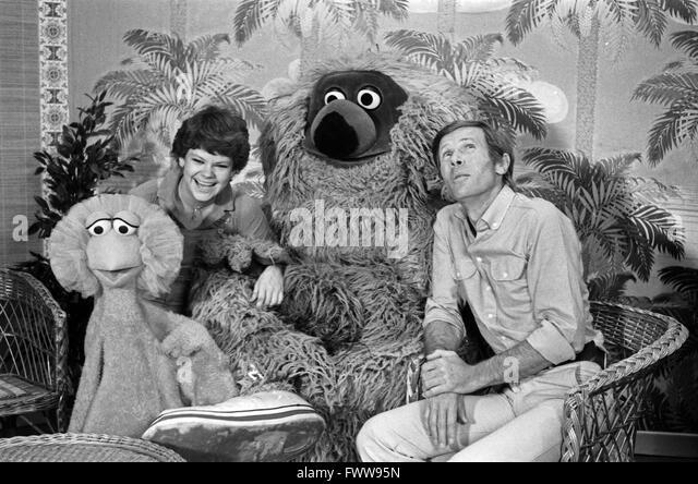 Sesamstraße, Kindersendung, Deutschland 1979, Mitwirkende: Tiffy, Horst Janson, Samson, Ilse Biberti Stockbild