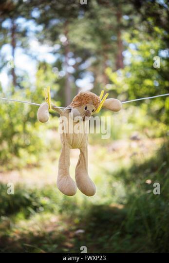 Schweden, Uppland, Herrang, Norrtalje, Spielzeug-Löwen an Schnur trocknen Stockbild