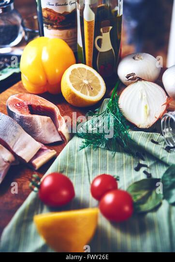 Noch Fisch Gemüse Stockbild