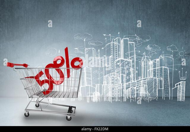 Zusammengesetztes Bild des Online-shopping-Konzept Stockbild