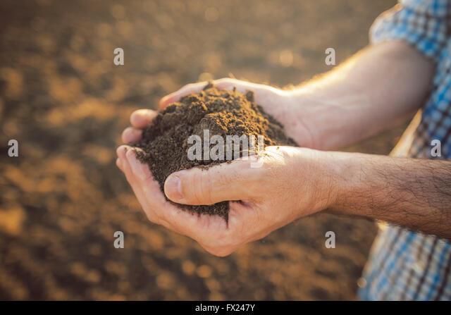 Landwirt Holding Haufen von Ackerboden in Händen, verantwortungsvolle und nachhaltige landwirtschaftliche Produktion Stockbild