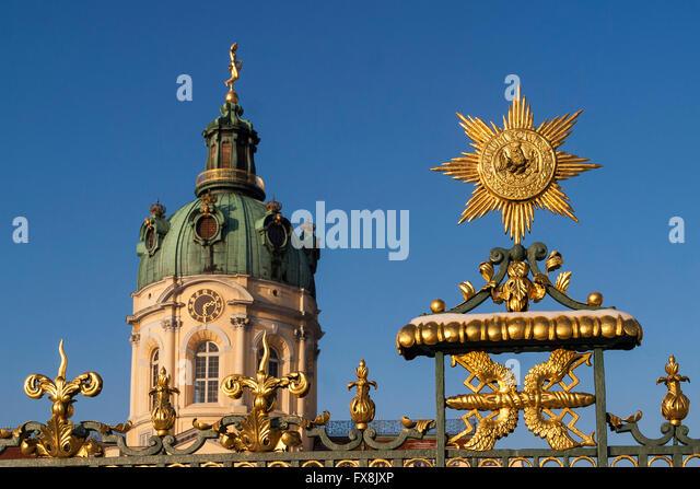 Das Schloss Charlottenburg, Ornamente Golden am Eisernen Zaun, Berlin, Deutschland Stockbild