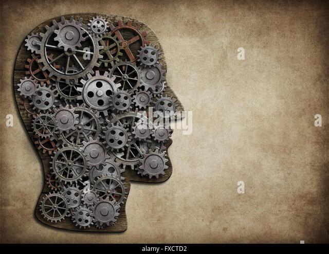 Kopf aus Getriebe und Zahnräder hergestellt. Aktivität des Gehirns, Idee Konzept. Stockbild