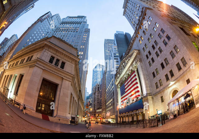 Wall Street New York, New York Börse, Fisheye, Skyline, Financial District, Manhattan, New York City, Vereinigte Stockbild
