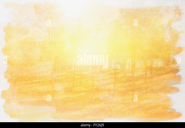 doppelte Belichtung Bild Wald und Aquarell abstrakt Stockbild