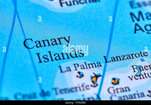 Kanarischen Inseln auf der Weltkarte Stockbild