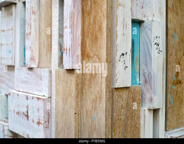 Holz Holz Latten Zaun Wandecke Stockbild