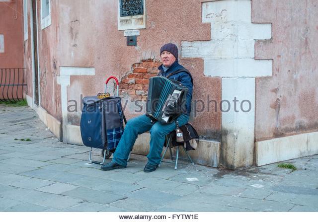 Straßenmusiker, Venedig Italien. Stockbild