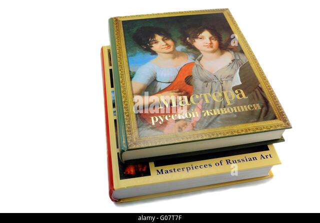 Zwei Bücher über Malerei auf weißem Hintergrund Stockbild