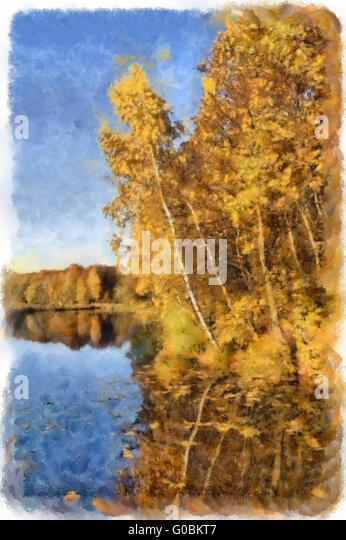 Aquarell Herbst Fluss- und Waldlandschaft Stockbild