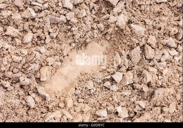 Textur. Fußabdruck auf rissige Sand. Bodenbedeckung Stockbild