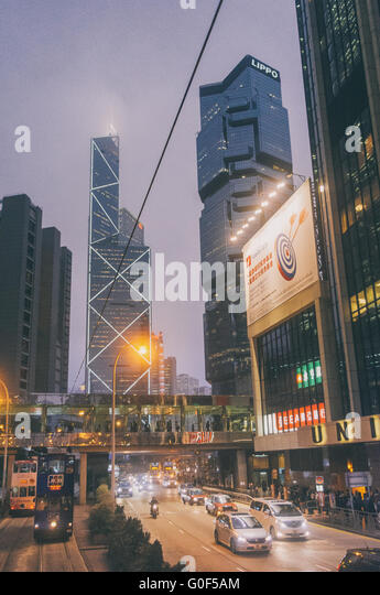 Hong Kong-Straße in der Nacht Stockbild