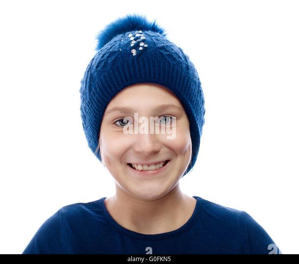 Mädchen mit einem Strick Mütze Stockbild