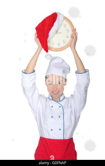 Glücklich asiatischen Chef mit Uhr und Weihnachtsmütze Stockbild